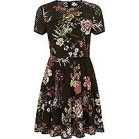 Black laser cut floral double layer dress
