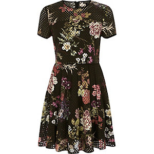 Black laser cut floral double layer dress