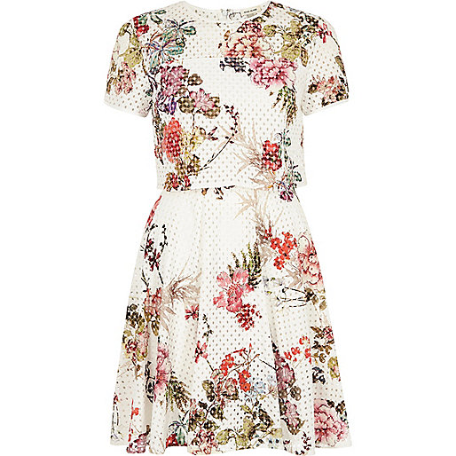 White laser cut floral double layer dress