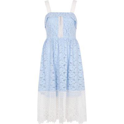 Blauw witte kanten midi-jurk