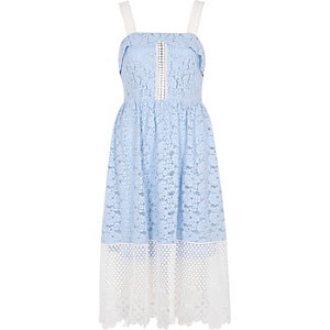Blue and white lace midi dress