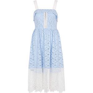 Blue and white lace midi dress