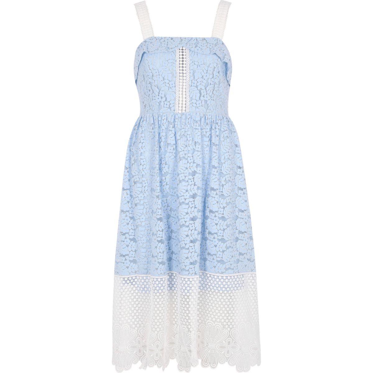 Blauw/witte kanten midi-jurk