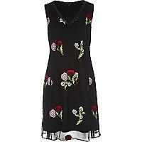 Black mesh floral embroidered mini dress