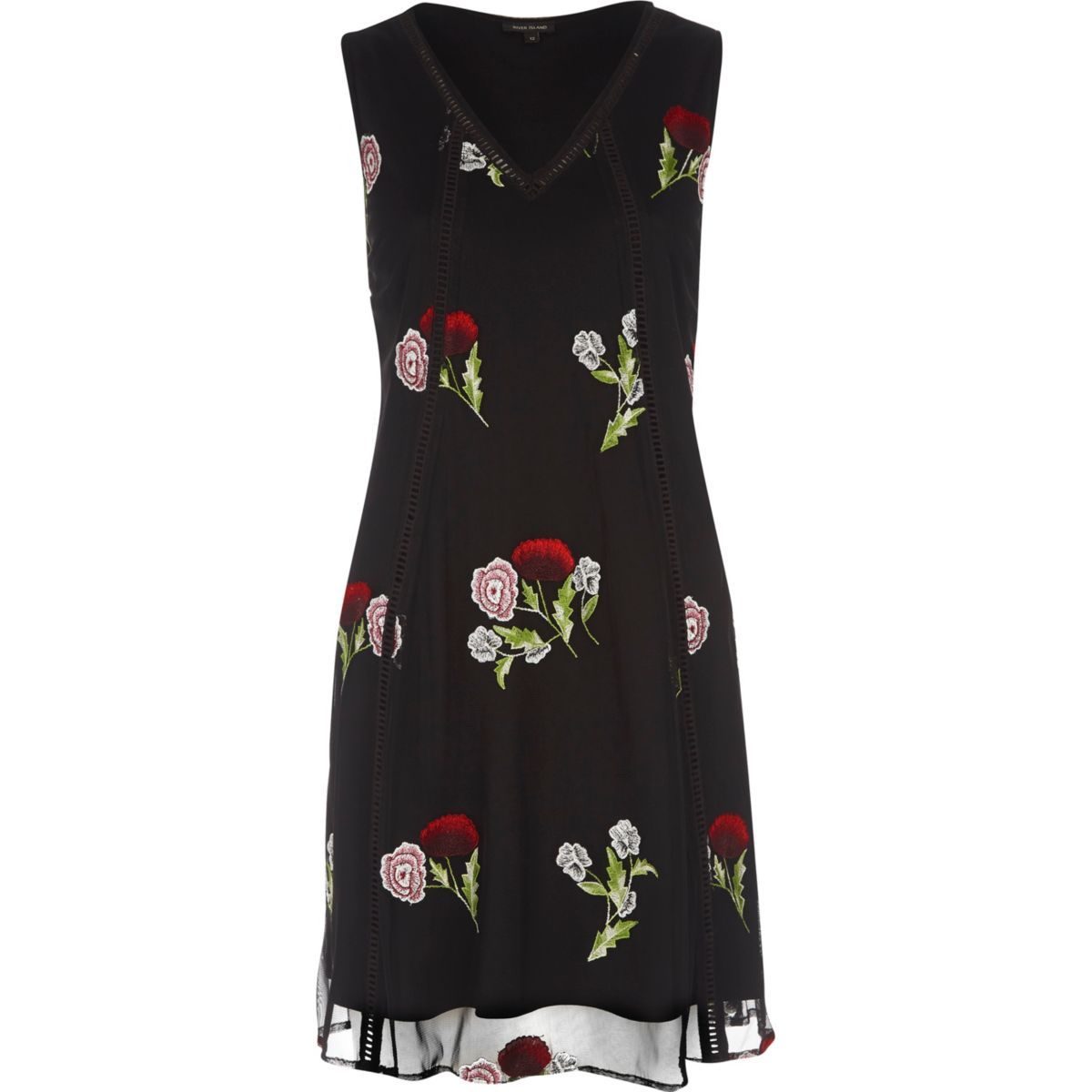 Black mesh floral embroidered mini dress