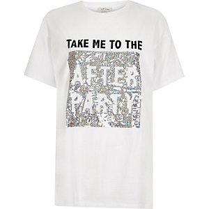 Wit boyfriend-T-shirt met lovertjes