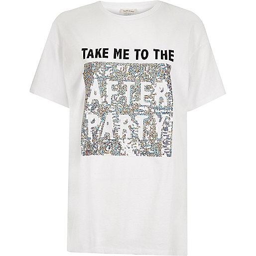 Weißes Boyfriend-T-Shirt mit Pailletten