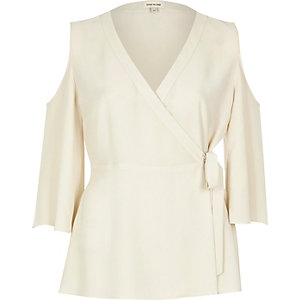 Cream wrap front cold shoulder top
