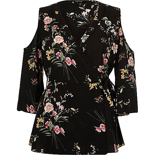 Black floral print cold shoulder wrap top