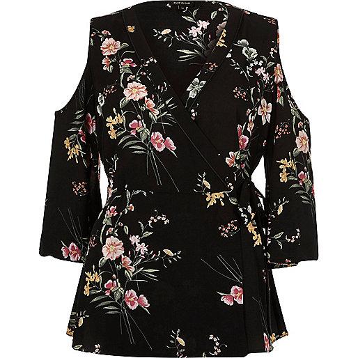 Top cache-cœur noir à épaules dénudées et imprimé à fleurs