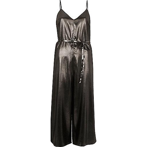 Combinaison jupe-culotte argenté foncé métallisée