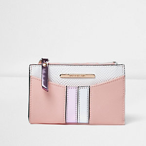 Pink front stripe mini purse