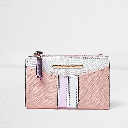 Mini porte-monnaie rose rayé sur le devant