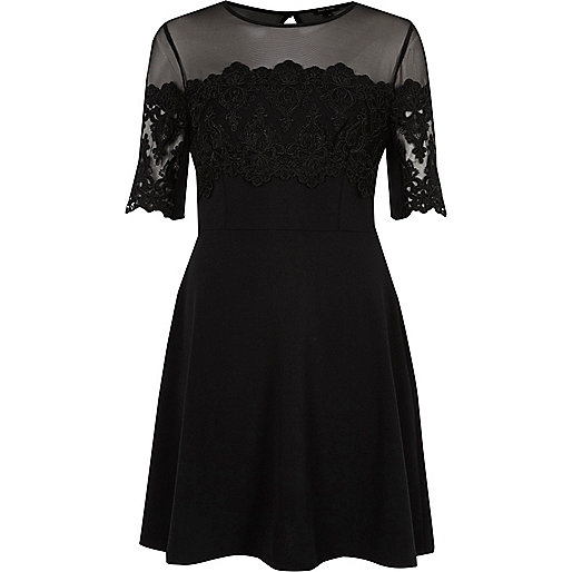 Black mesh and lace panel skater dress