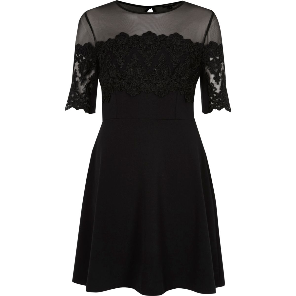 Black mesh and lace panel skater dress