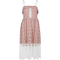 Light pink and white lace midi dress