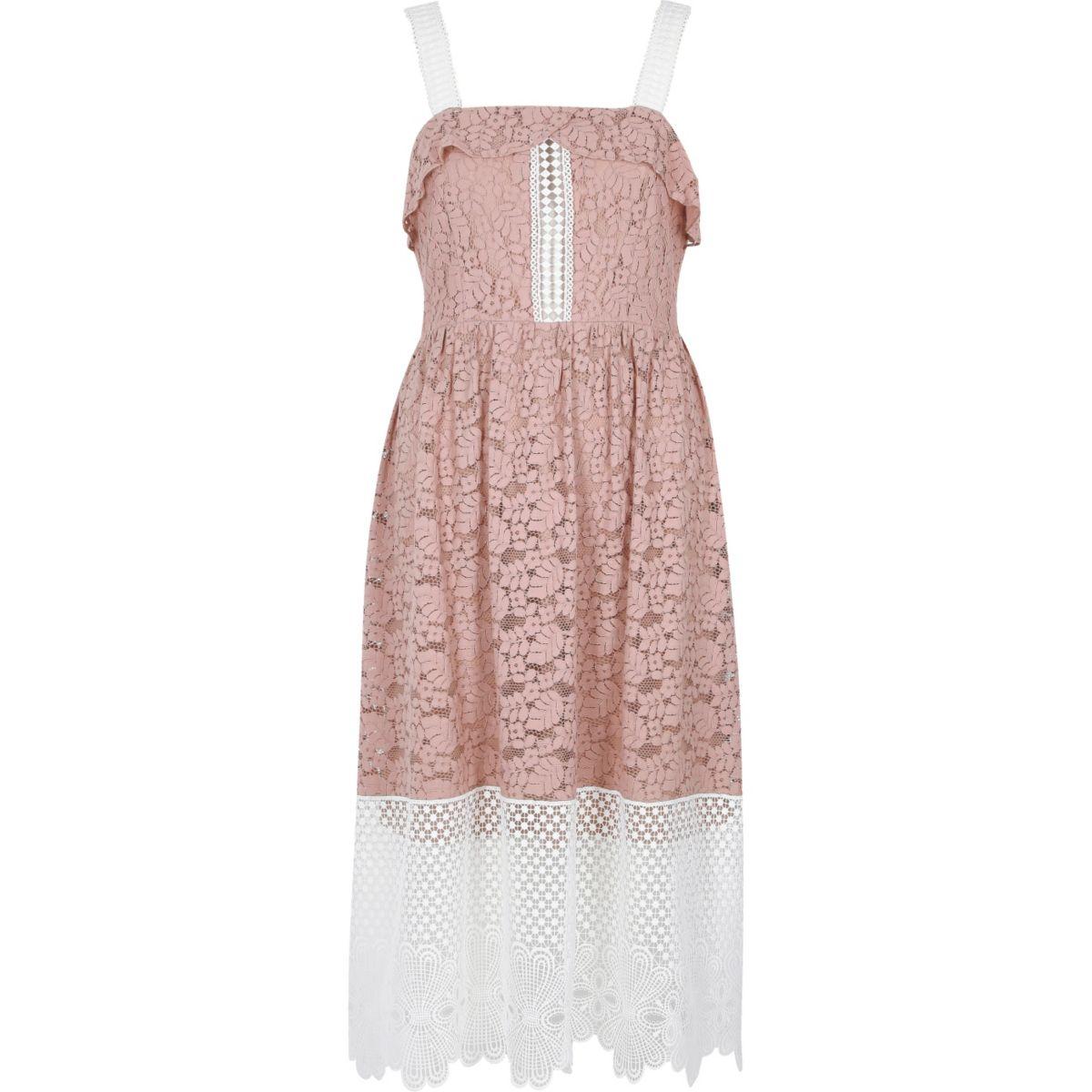 Light pink and white lace midi dress