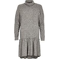 Grey turtleneck smock dress