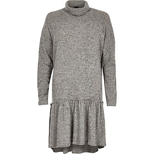Grey turtleneck smock dress