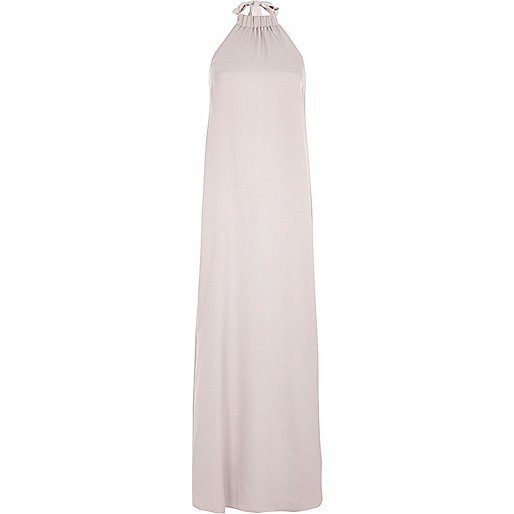 Grey silky halter neck maxi dress