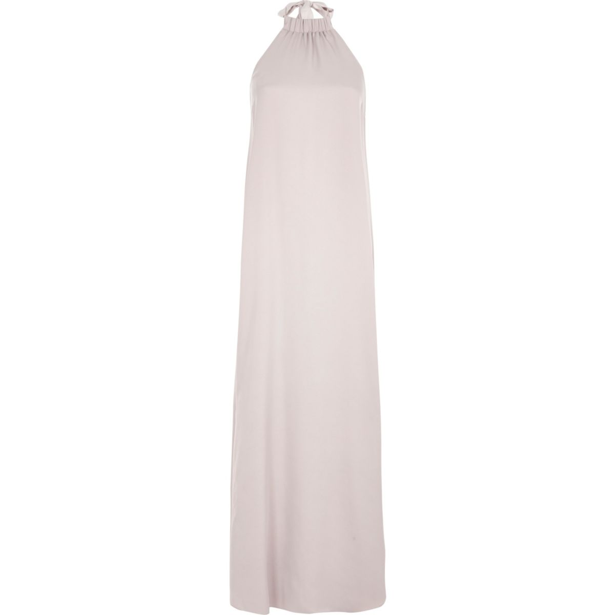 Grey silky halter neck maxi dress