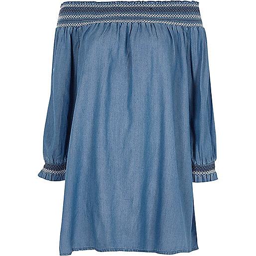Denim shirred bardot smock swing dress