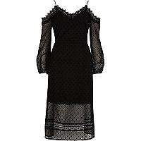 Zwarte schouderloze maxi-jurk van mesh met stippen