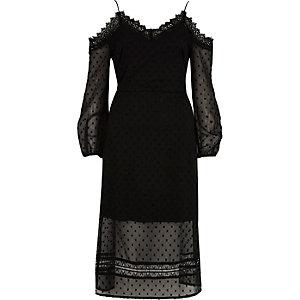 Black dobby mesh cold shoulder maxi dress