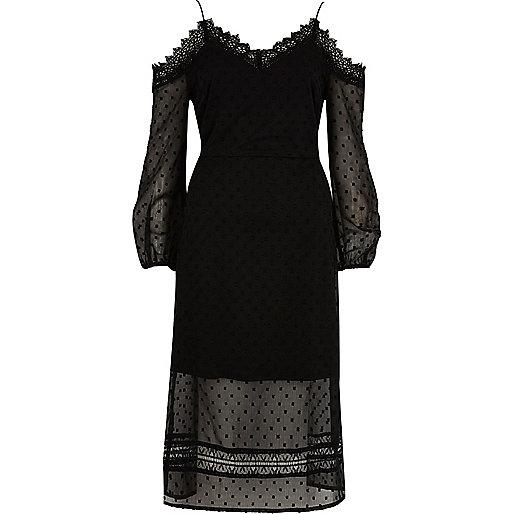 Black dobby mesh cold shoulder dress