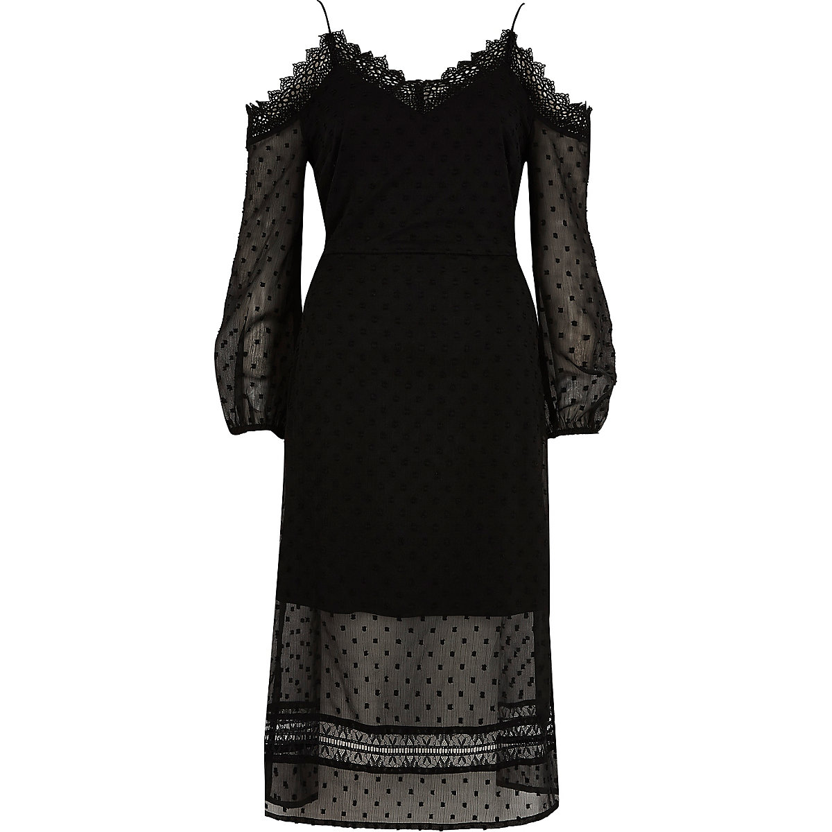 474ca468d6 Black dobby mesh cold shoulder dress Black dobby mesh cold shoulder dress  ...