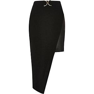 Black leather look panel asymmetric skirt