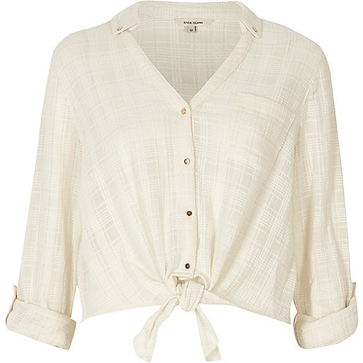 Cream check tie front cropped shirt