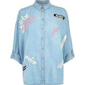 Light blue 'globe trotter' print denim shirt