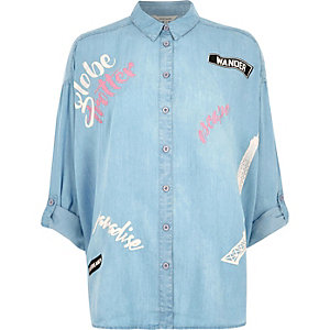 Light blue 'globe trotter' print denim shirt