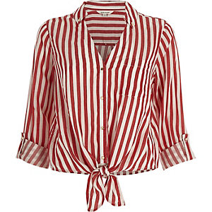 Red stripe tie front shirt
