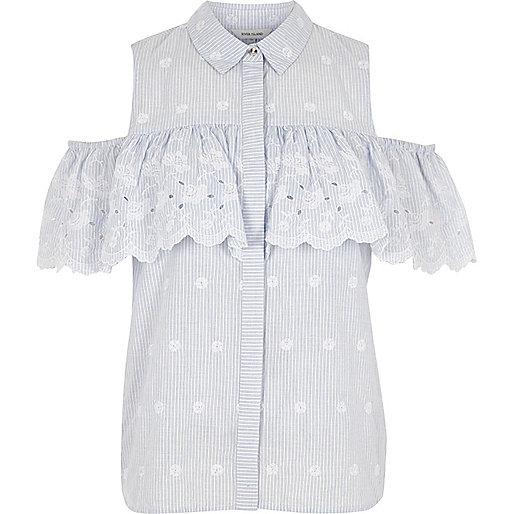 Blue stripe floral frill cold shoulder shirt