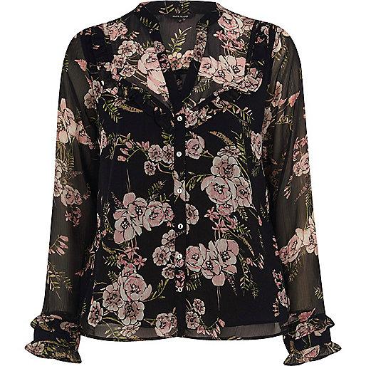 Black floral frill bib blouse