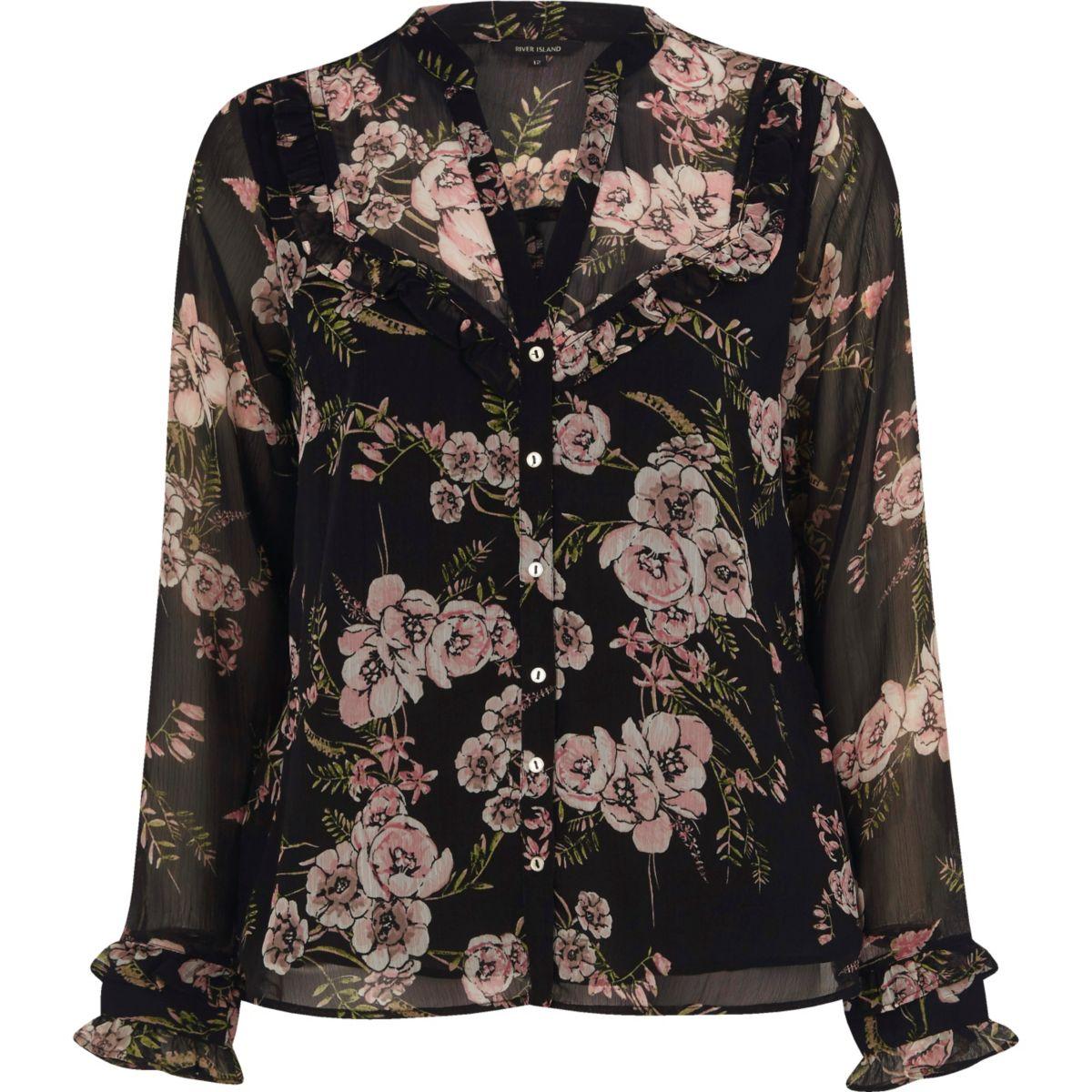 Schwarze Bluse mit Blumenmuster und Rüschen