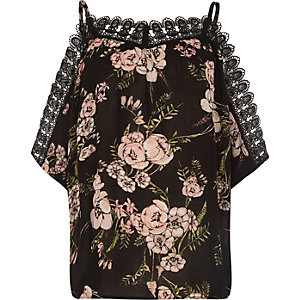 Black floral crochet trim cold shoulder top