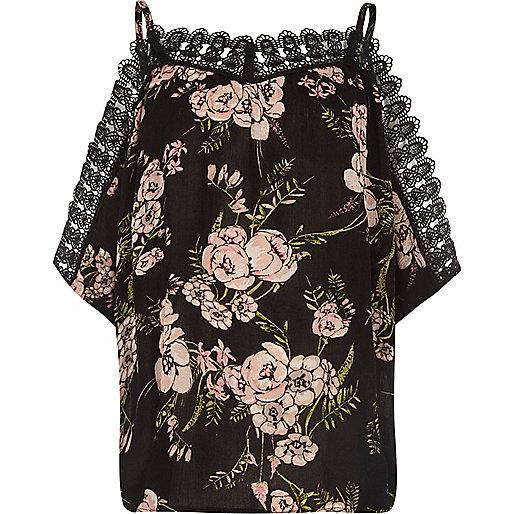 Black floral crochet trim cold shoulder top