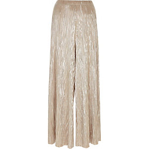 Silver pleated wide leg trousers