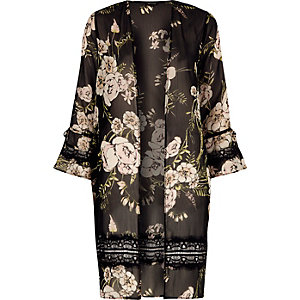 Black floral print lace insert beach duster