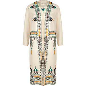 Cream sheer embroidered kimono