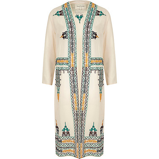 Cream sheer embroidered duster jacket