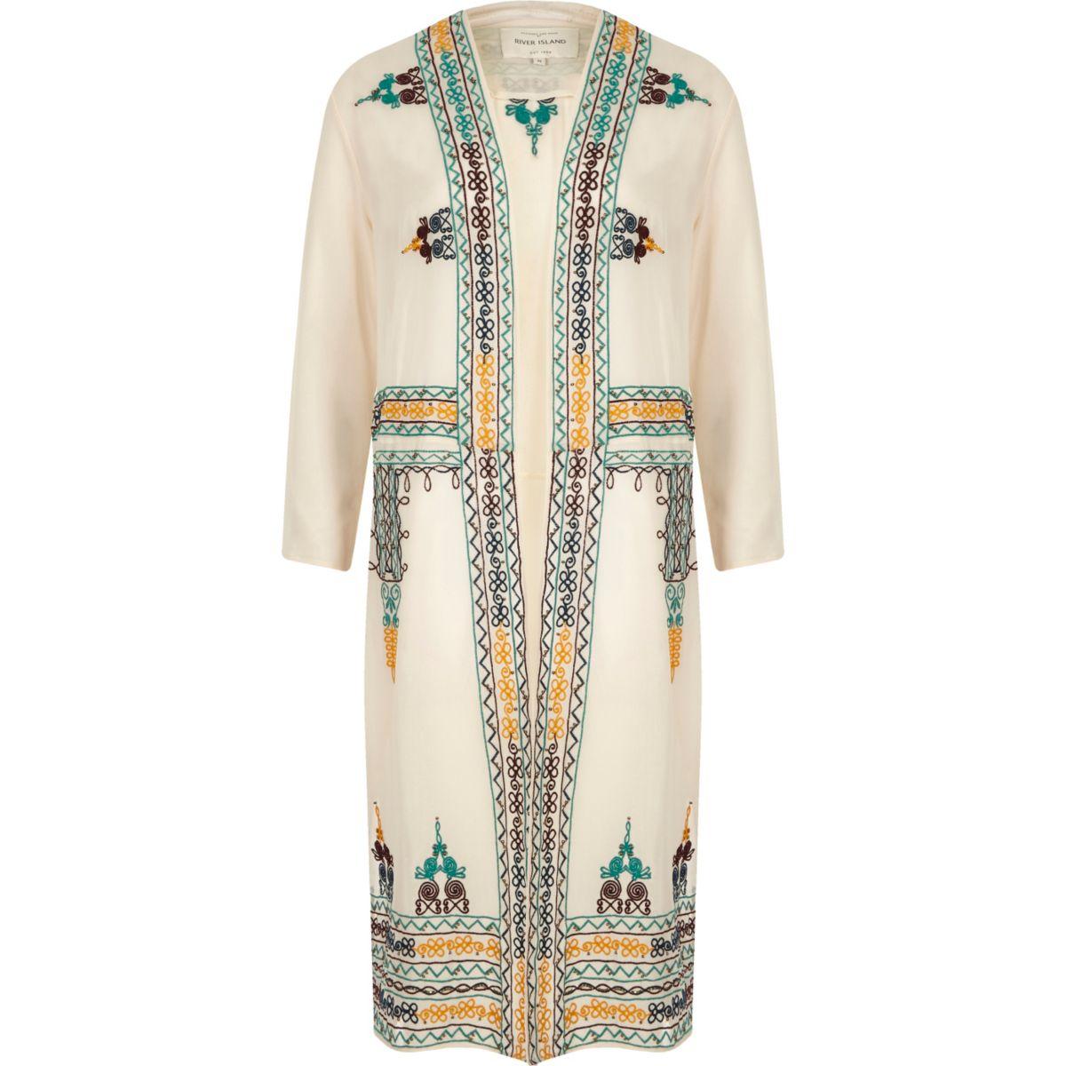 Cream sheer embroidered kimono