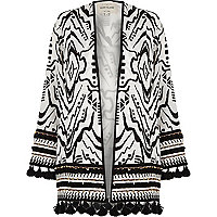 Black and white beaded tassel hem kimono