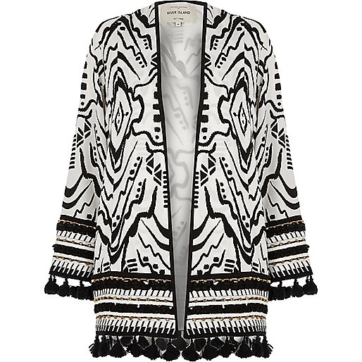 Black and white beaded tassel hem kimono