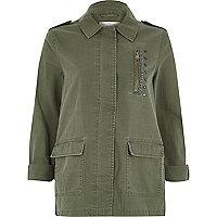Veste vert kaki style militaire à écusson au dos