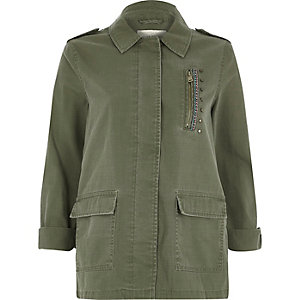 Khaki green patch back army jacket