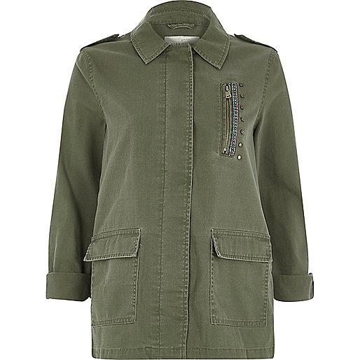 Khaki green patch back army jacket